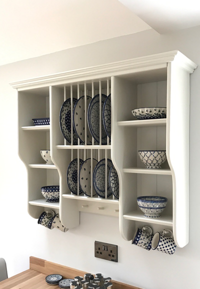 wooden plate rack finished and mounted view 7